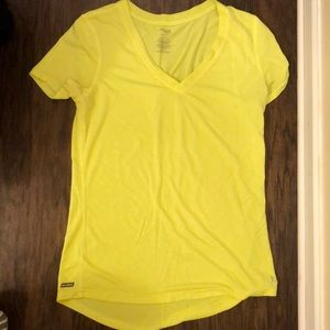 Neon yellow danskin semi fitted workout shirt